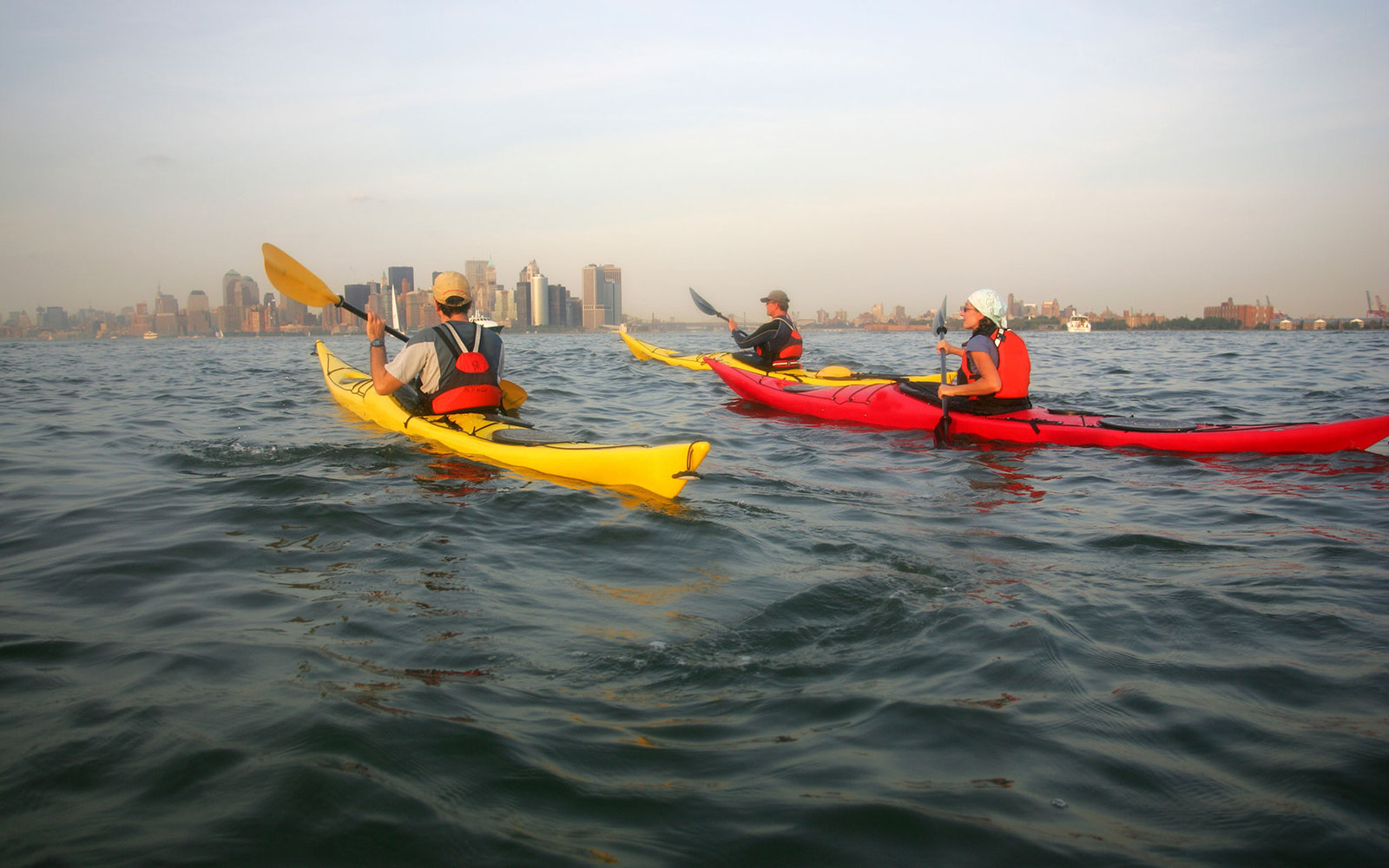 NEW YORK CITY People kayak on the Hudson River