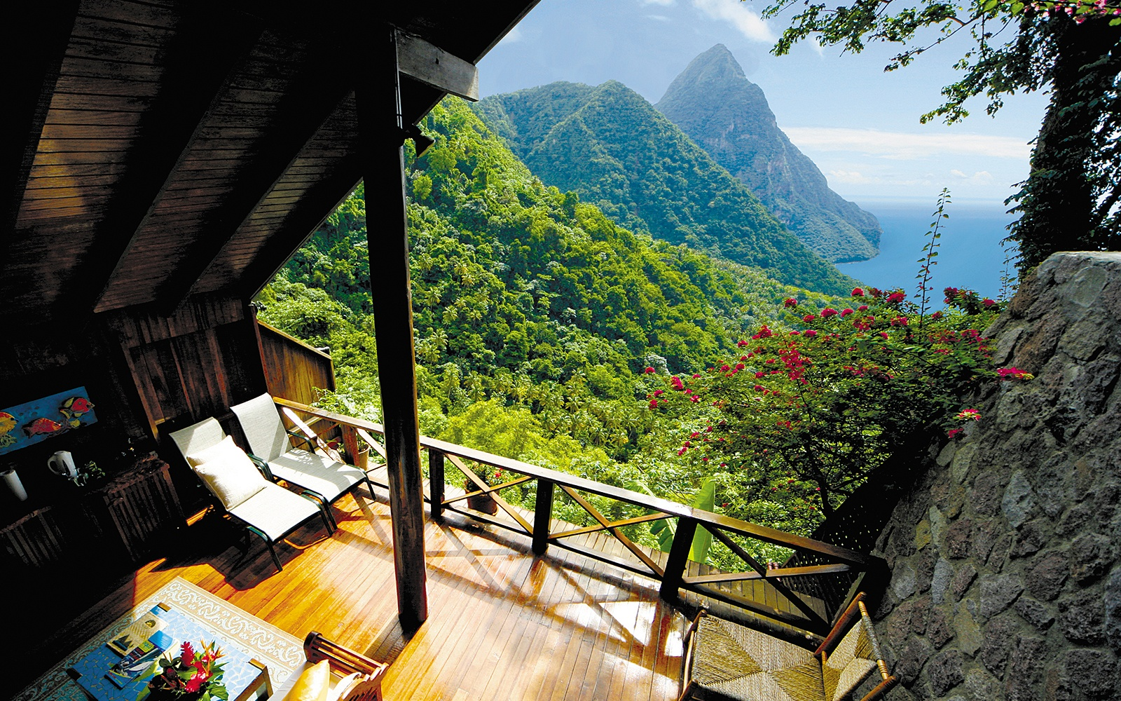 Ladera Resort in the moutains in the caribbean, St. Lucia