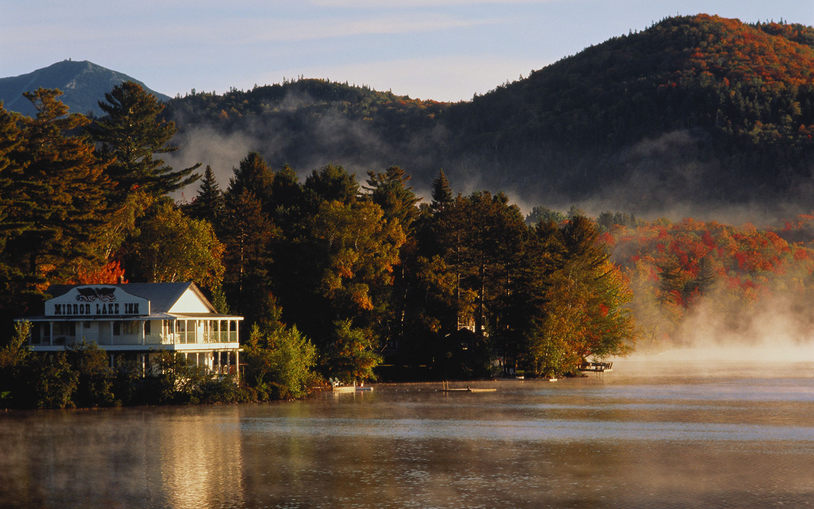 Lake house in fall at Lake Placid, NY
