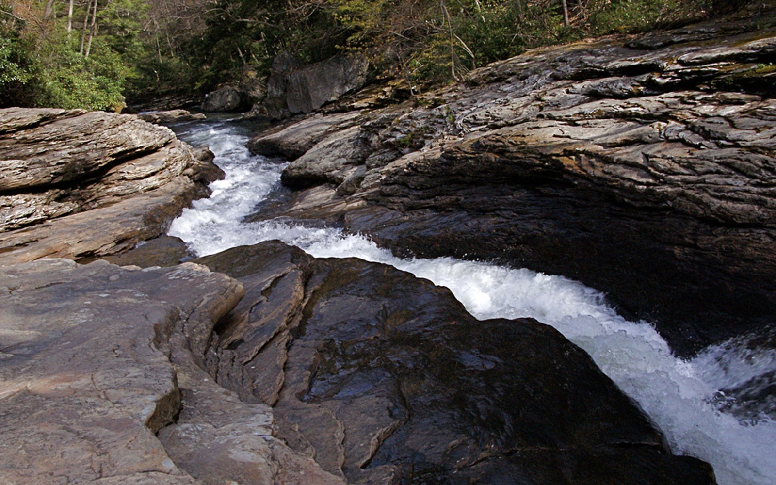 Meadow Run Natural Waterslide swimming hole in Ohiopyle, PA