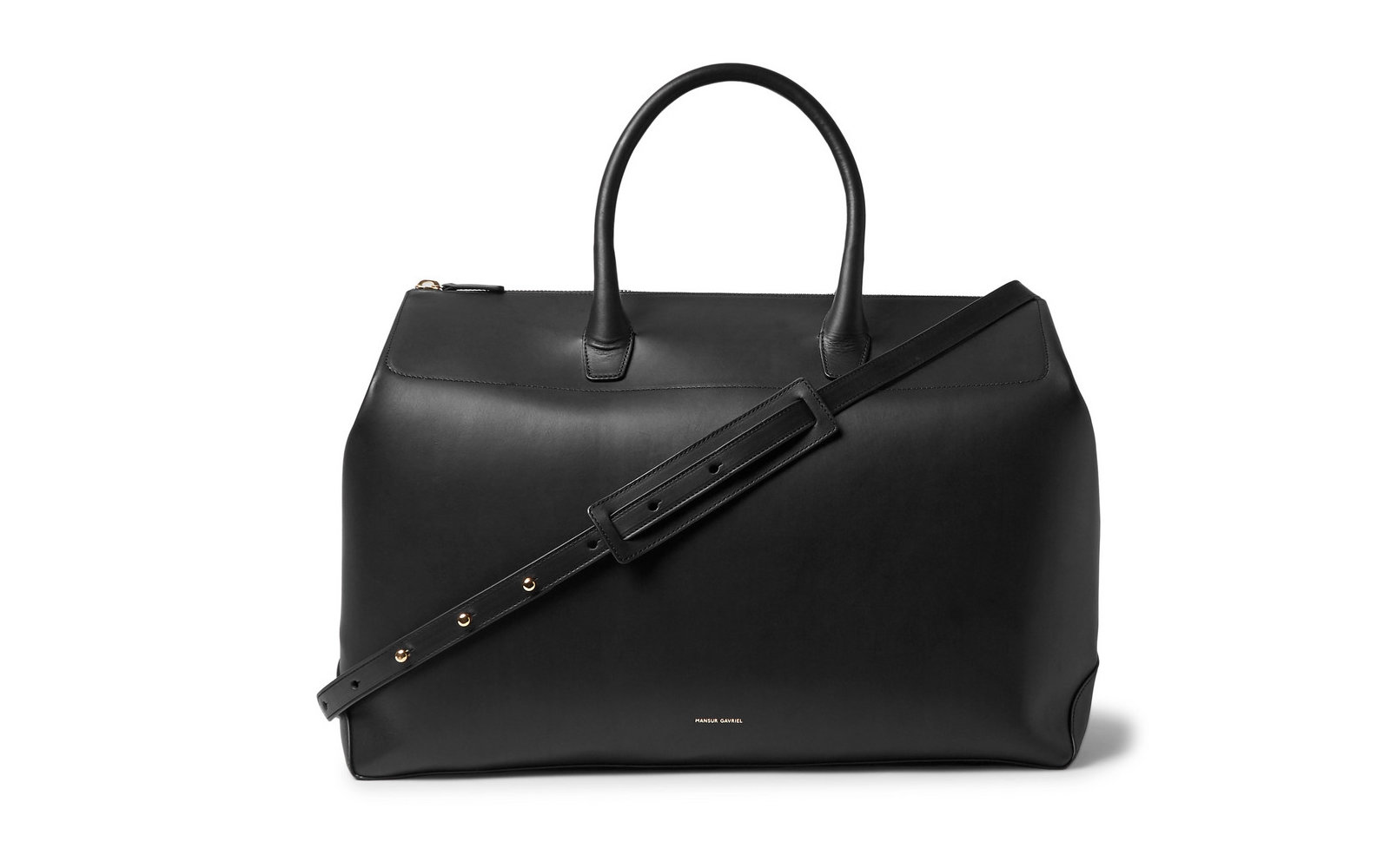 mansur leather duffel