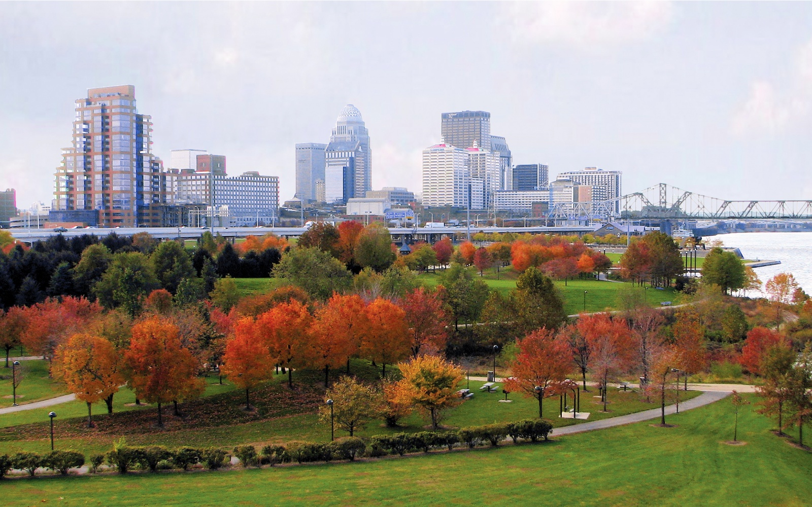 music, city, skyline, Louisville, Kentucky