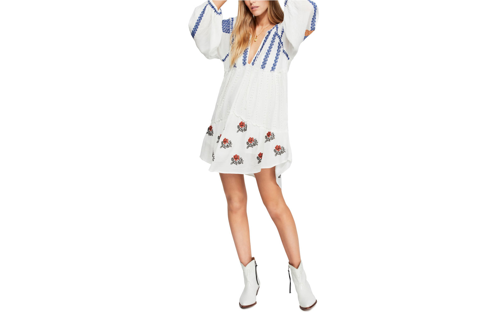 Free People Wild Horses Embroidered Long Sleeve Minidress