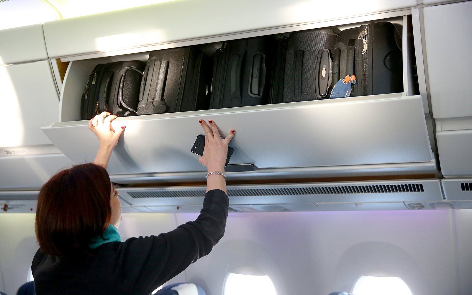 Overhead bin on airplane
