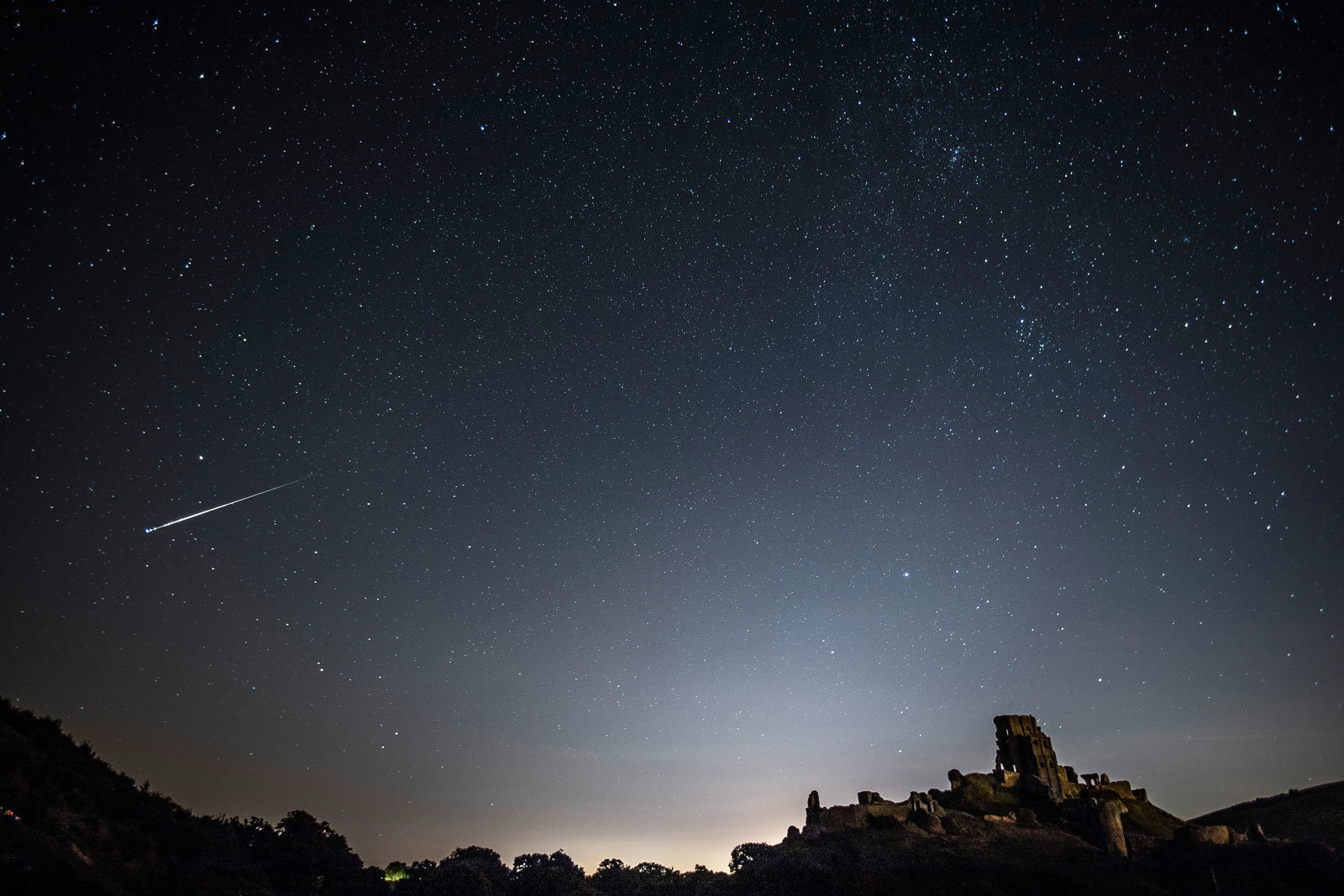 Meteors in the night sky above the UK.