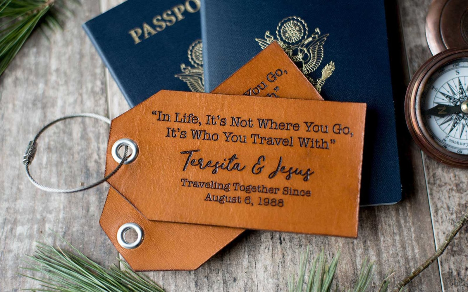 Engraved Leather Luggage Tag