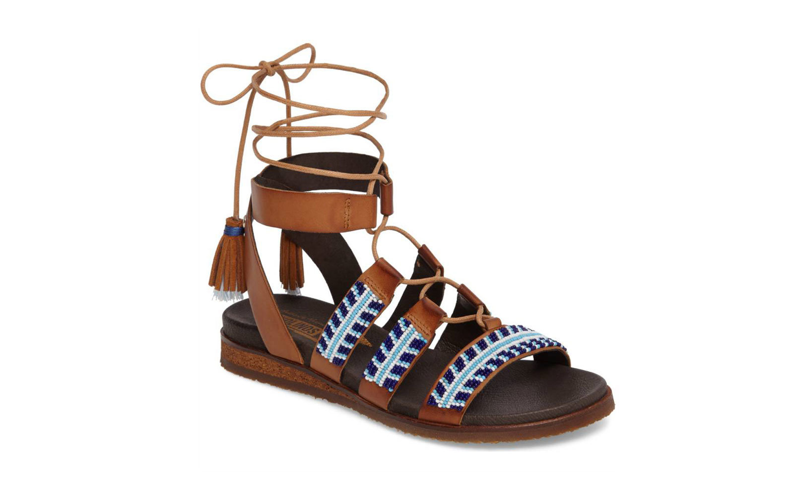 Pikolinos Alcudia Hand Beaded Sandal in Cacao/Olmo Leather