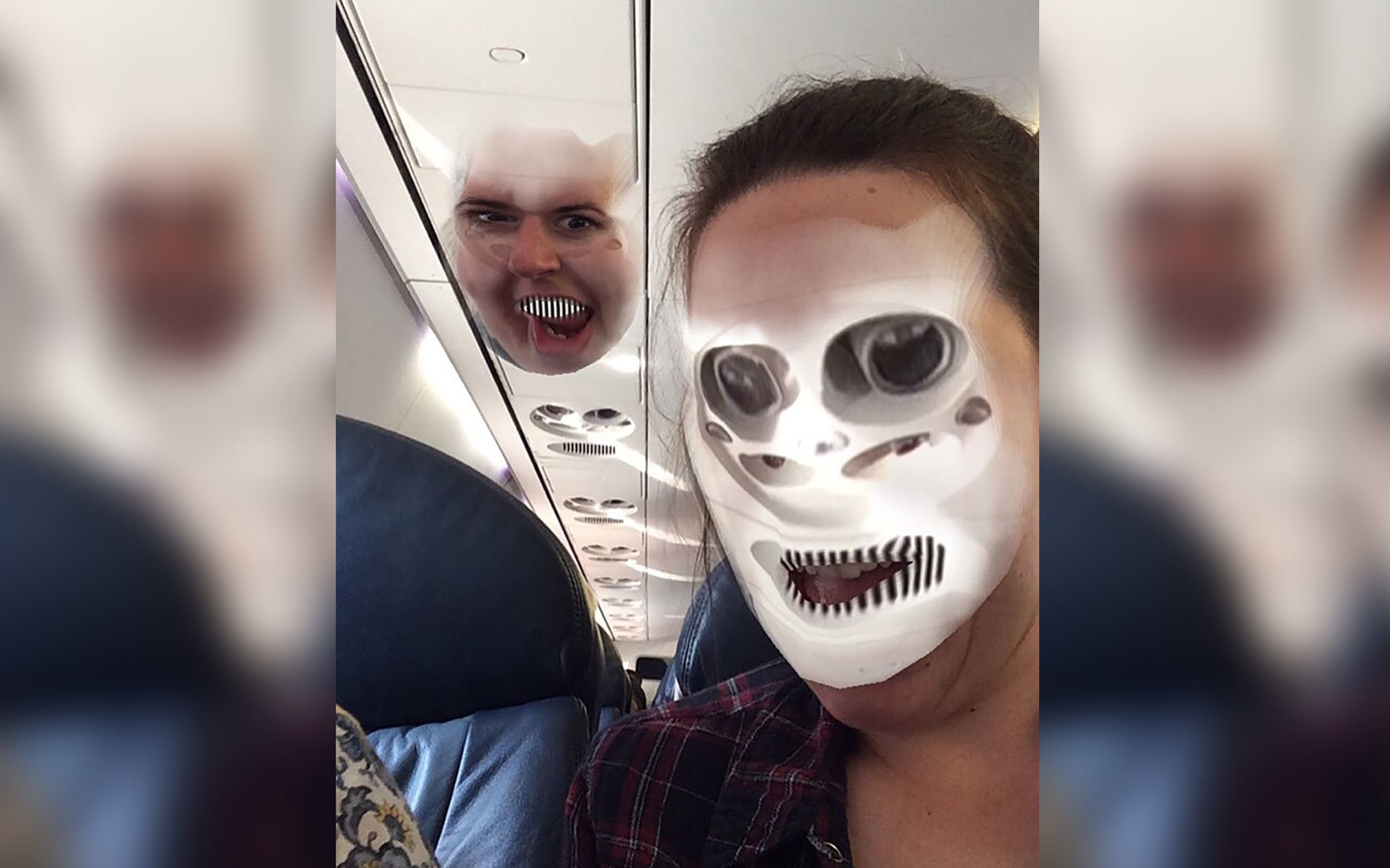 Traveler Face Swapped With An Airplane Overhead Bin