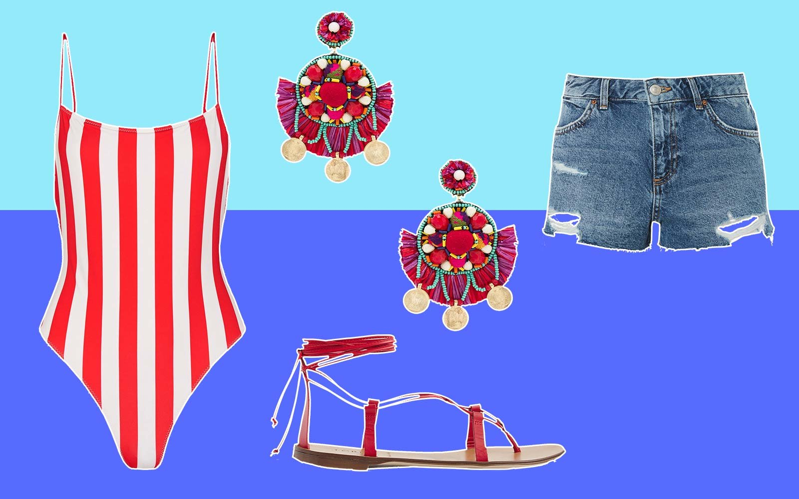 Swimsuit Style Fashion Red White Denim