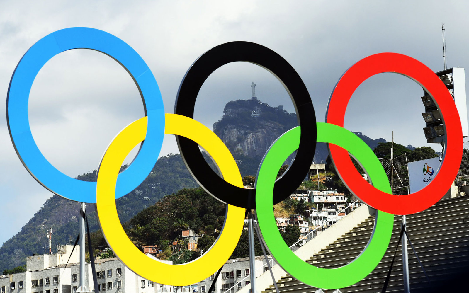 The Olympic rings in Rio de Janeiro.