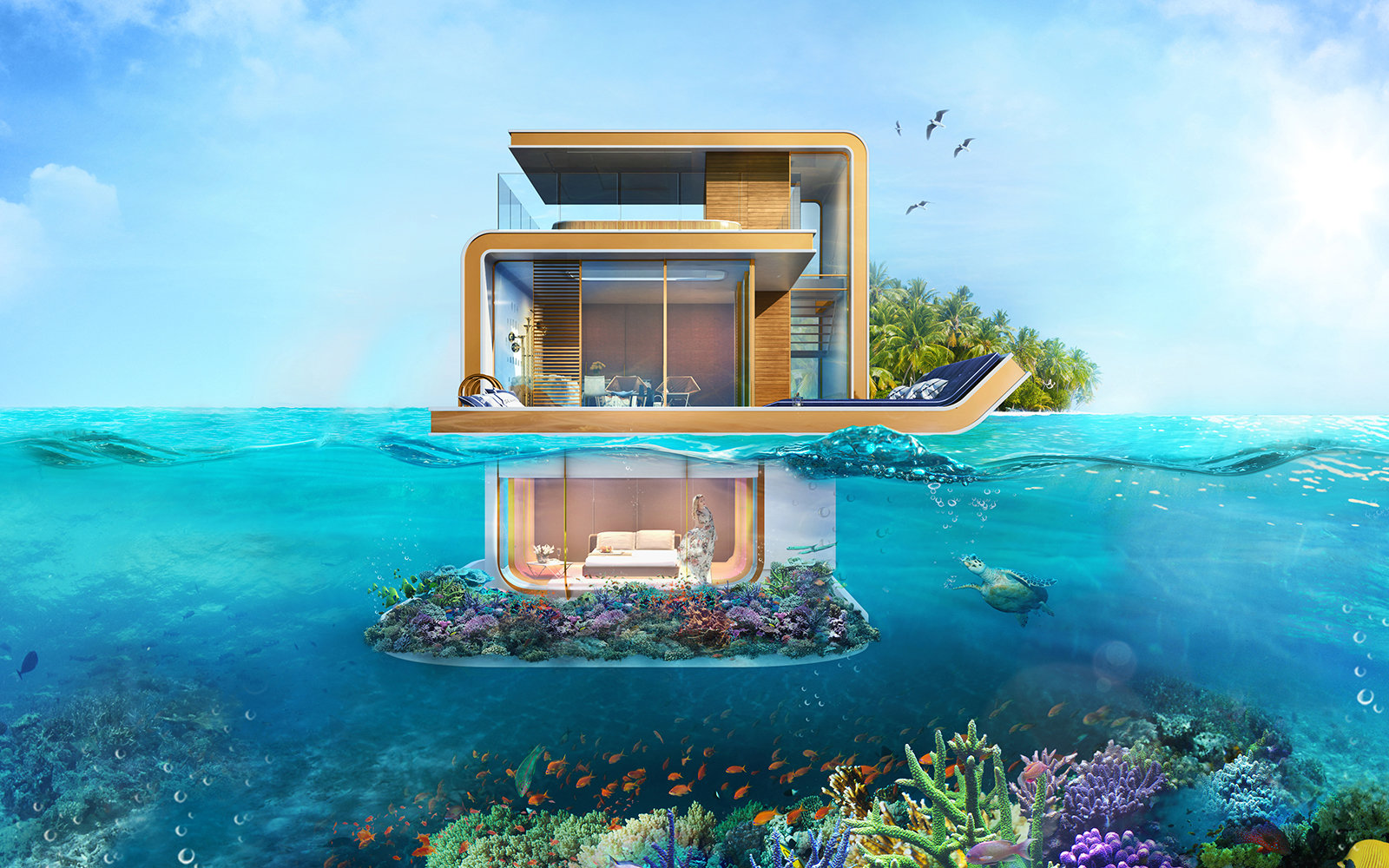 First Underwater Villa Completed In Dubai Travel Leisure - These amazing floating villas have underwater bedrooms
