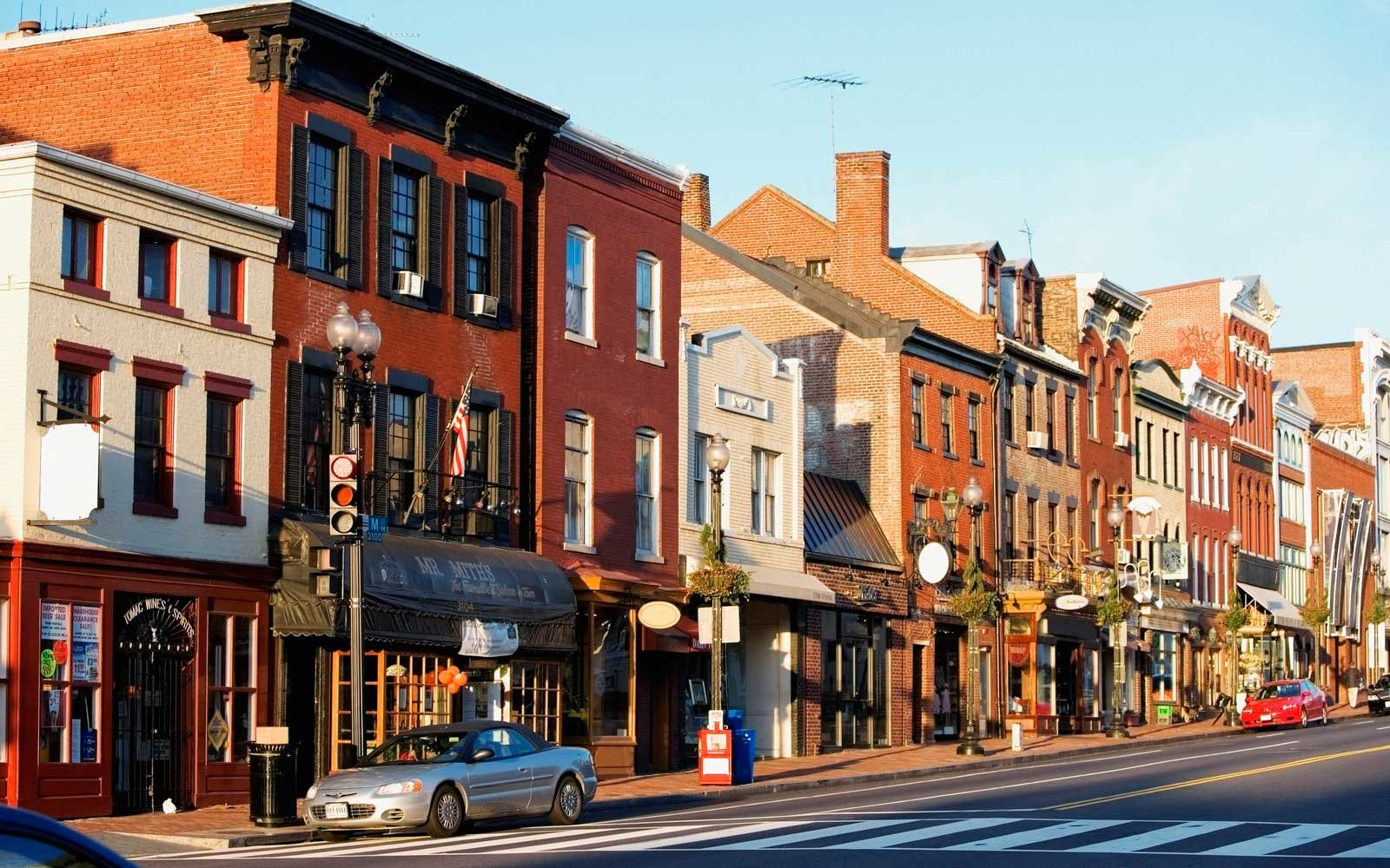 Buildings along a road, M street, Georgetown, Washington DC, USA