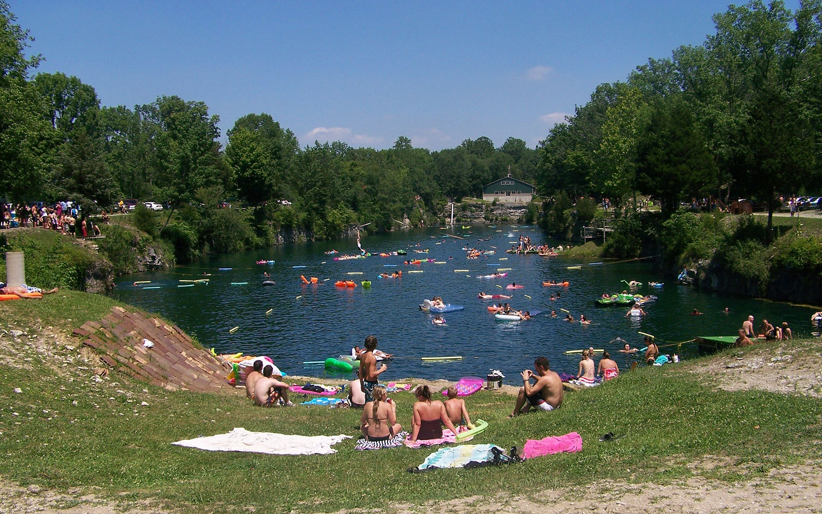 swimmers at White Rock Park swimming hole in St. Paul, IN