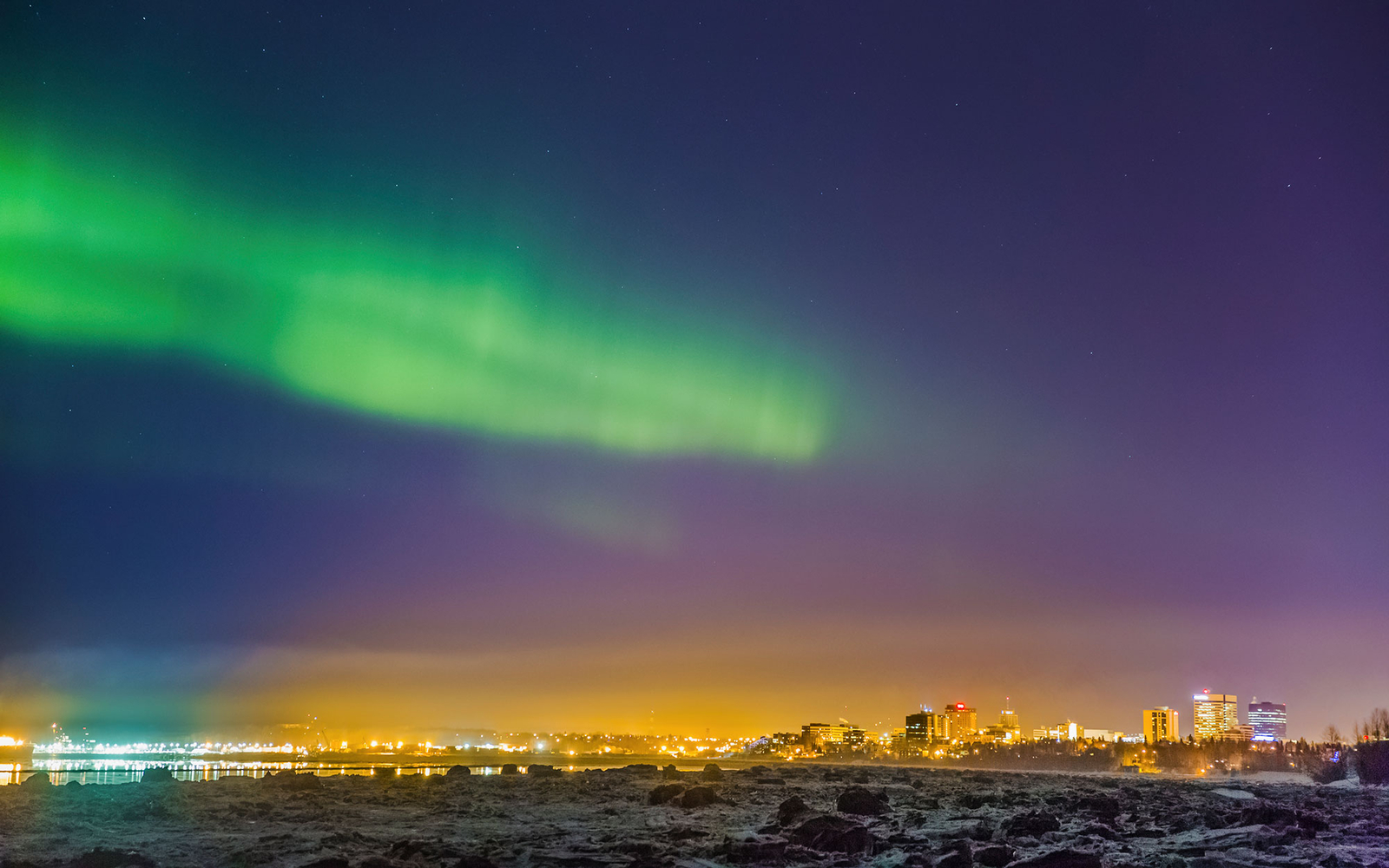 the northern lights over Anchorage, AK