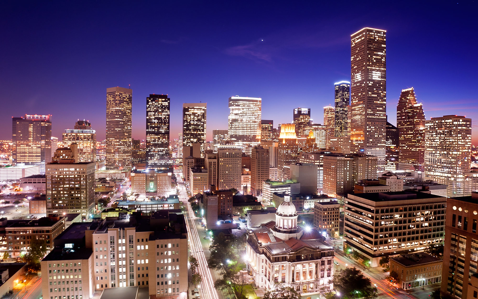 downtown at night in Houston, TX