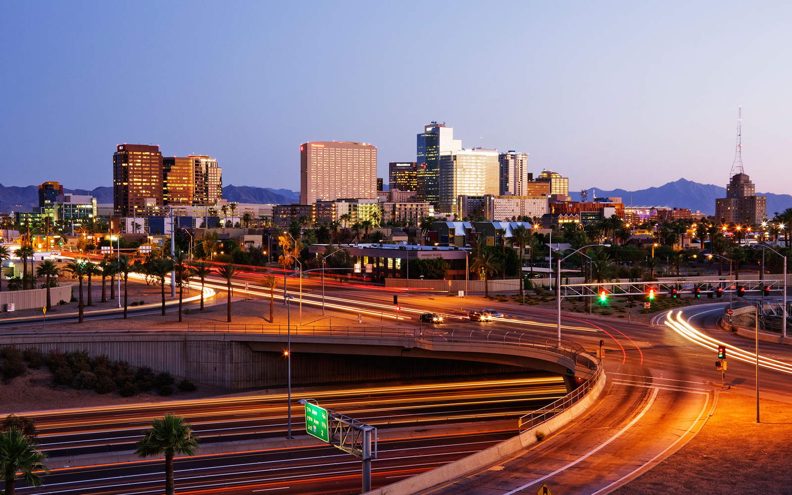 downtown Phoenix/Scottsdale at night, Arizona