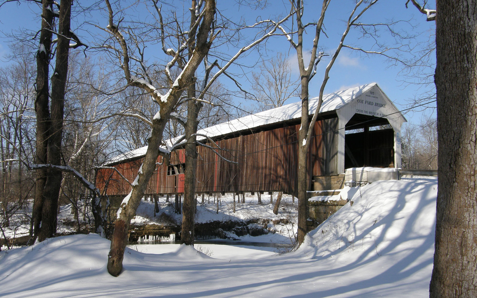 covered bridge winter