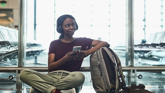 woman waiting for flight