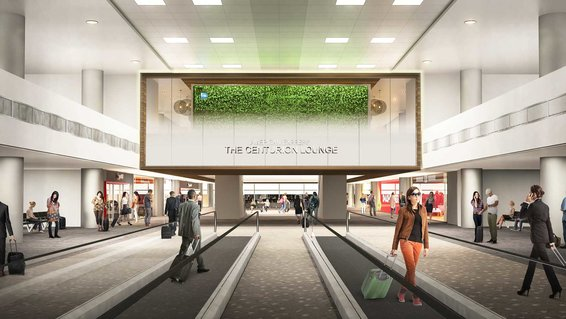 Centurion Lounge Entrance Rendering at Denver International Airport