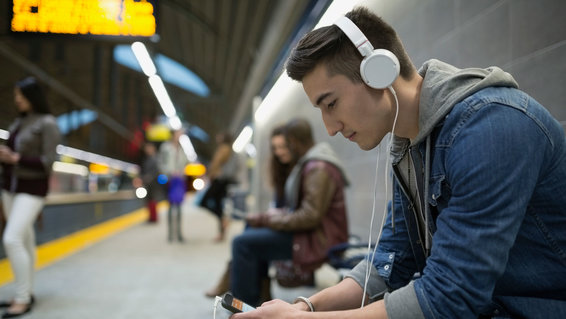 person listening to music