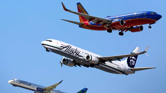 Domestic Airlines, Southwest, Alaska, JetBlue
