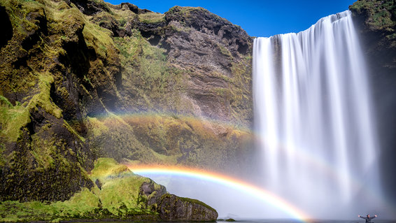 Below the Skogafoss waterfall with a double rainbow, taken in Skógá River, Iceland, September 2016.