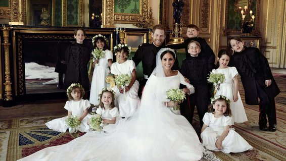 Duke and Duchess of Sussex with Bridesmaids and Pageboys