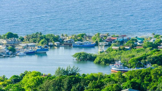 Aerial view of the harbor in Roatan, Honduras