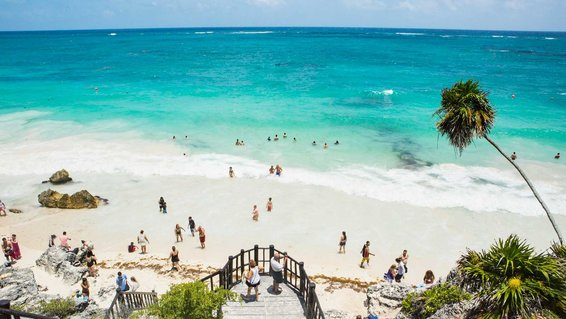 People enjoying the beach in Mexico