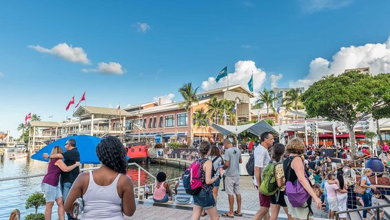 Sunny day at crowded Miami Bayside Marketplace in Miami, Florida