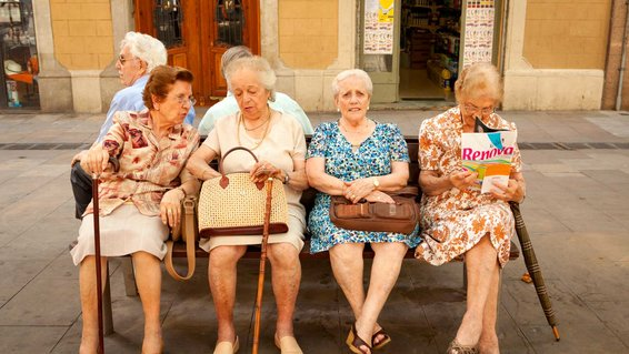 Group of elderly ladies hanging out in Spain