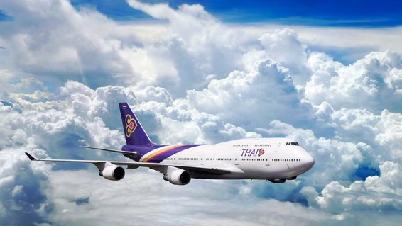 Boeing 747 from Thai Airways in flight