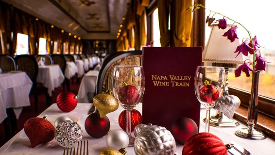 Enjoy festive cheer and wine onboard the Napa Valley Wine Train's holiday ride.