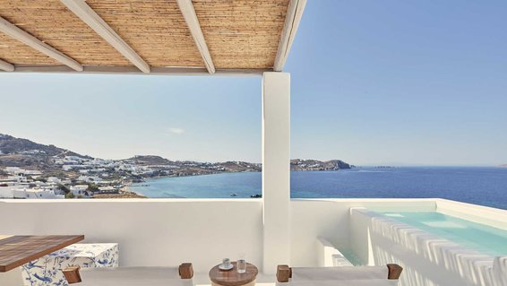 View from a terrace at the Katikies Mykonos hotel