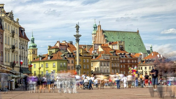 Castle Square, in Warsaw, Poland Old Town