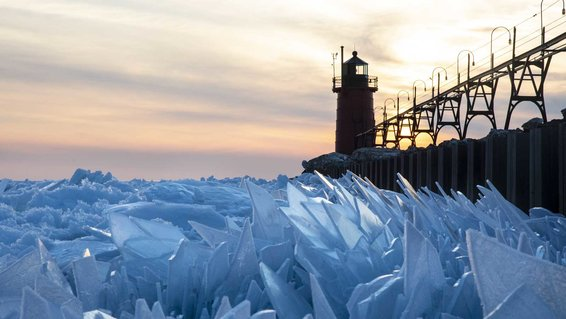 Ice Shards on Lake Michigan at South Haven Pier.