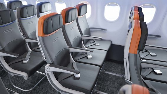 Seats on a refitted JetBlue A320 airplane
