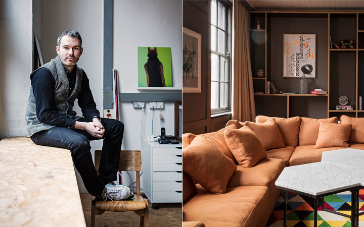 Left: Garrett Pitcher at the headquarters of his design firm, Indigo & Cloth. Right: A suite at the Dean Hotel