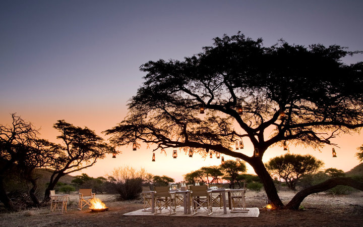 Tswalu sunset outdoor dining