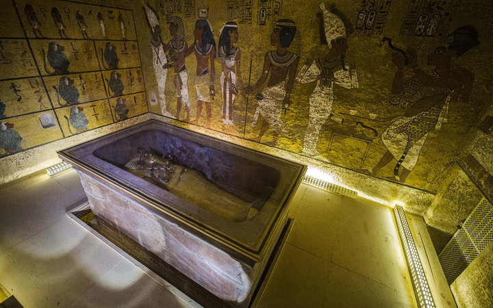 A picture taken on November 28, 2015 shows the sarcophagus of King Tutankhamun displayed in his burial chamber in the Valley of the Kings, close to Luxor, 500 kms south of the Egyptian capital, Cairo. Scans in King Tutankhamun's tomb in Egypt's Valley of