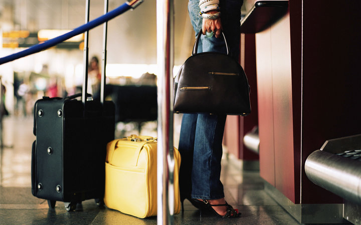 Travel bags plan trip airport ticketing