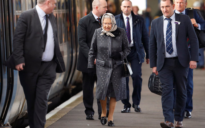 KING'S LYNN, UNITED KINGDOM - FEBRUARY 08: (EMBARGOED FOR PUBLICATION IN UK NEWSPAPERS UNTIL 48 HOURS AFTER CREATE DATE AND TIME) Queen Elizabeth II boards a train at King's Lynn Station to return to London after her Christmas break at Sandringham House o