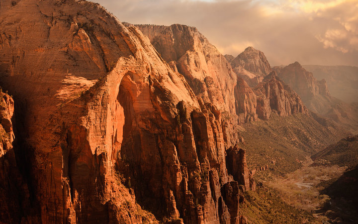 Row of red rock peaks in Zion's National Park Utah
