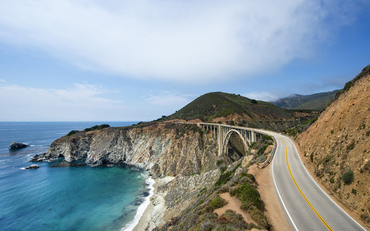 Winding Highway 1 along California Coastline near Big Sur.