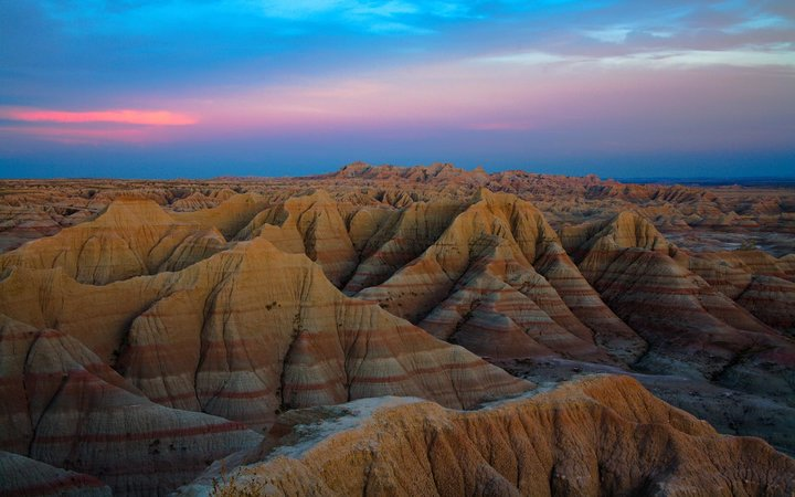 Badlands National Park at Sunset