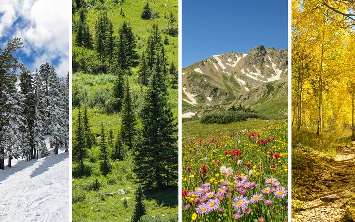 The four seasons in the Colorado Rocky Mountains