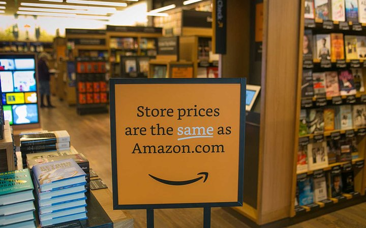 SEATTLE, WA - NOVEMBER 5: Online giant, Amazon.com, has opened its first  brick and mortar  retail bookstore as viewed on November 5, 2015, in Seattle, Washington. The store. called Amazon Books, is located in the upscale University Village shopping mall