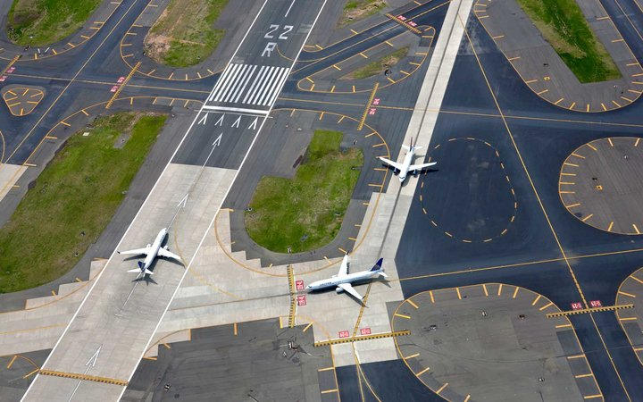 Aerial view of Newark International airport, New Jersey, New York, USA
