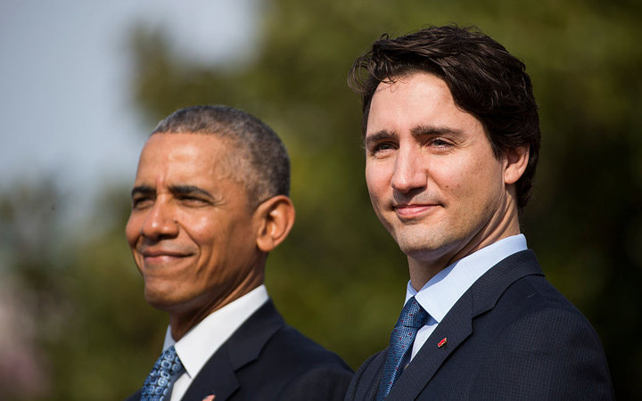 WASHINGTON, DC - MARCH 10:  U.S. President Barack Obama welcomes Canadian Prime Minister Justin Trudeau during an arrival ceremony on the South Lawn of the White House, March 10, 2016 in Washington, DC. This is Trudeau's first trip to Washington since bec