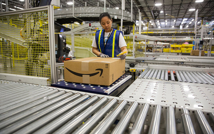 1.25 million square foot Amazon shipping center in Schertz, Texas. The fulfillment facility includes a proprietary  robo-stow  robotic arm system and employs nearly 500 full-time employees who use the advance tracking system to package orders and place in